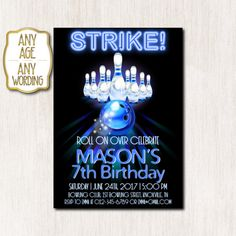 Bowling birthday party invitation, Bowling birthday invitation, Strike Bowling invitation, Any age, DIGITAL FILE ONLY Bowling Birthday Invitations, Baby Birthday, Pink Color, Rsvp, Messages, Digital, Party, Etsy