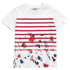 Junior Gaultier Ivory T-shirt with red stripes (156819) Cream - Ivory - 65623 | Melijoe.com