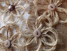 Rustic Burlap Flower Assortment of Neutral Colors with Button Center