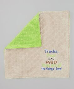Love this 12'' x 12'' Latte & Lime 'Trucks & Bugs' Lovey by Lolly Gags on #zulily! #zulilyfinds