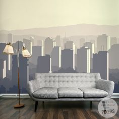 Sunset City - inspiracja fototapety, galeria wnętrz • PIXERS.pl