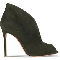 GIANVITO ROSSI Lombardy suede ankle boots ($790) ❤ liked on Polyvore featuring shoes, boots, ankle booties, khaki, peep-toe booties, short boots, peep toe bootie, suede boots and suede ankle booties