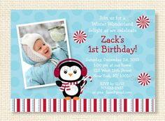 Penguin Candy Cane Printable Birthday by LittlePrintsParties, $10.00