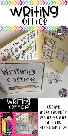 Want a fun way to foster independence during your writing time? Grab these writing pages to create writing offices for your students. This tool will help young learners build confidence during writing time. Alphabet letters, vowel chart, number words, and 1st Grade Writing, Kindergarten Writing, Teaching Writing, Kindergarten Classroom, Writing Activities, Teaching Ideas, Classroom Ideas, Writing Prompts, Writing Center Kindergarten