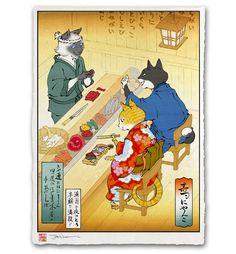 'Sushi Cats' Giclée Print