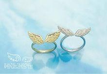 2016 nový kórejský šperky veľkoobchodné vinobranie Šťastný pár ľahkých zliatin anjelské krídla otvorený krúžok nastaviteľný milenci krúžok pre ženy (Čína (pevninská časť))