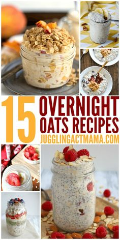 Overnight Oats Recipes & Tips 15 Easy Overnight Oats Recipes for a No-Fuss Breakfast – with just a few simple ingredients, you can create an easy make ahead breakfast everyone will love. Customize with your favorite fruits, nuts, spreads, and more! Overnight Oats Receita, Overnight Oats In A Jar, Healthy Overnight Oats, Oatmeal In A Jar, Overnight Oats Almond Milk, Strawberry Overnight Oats, Make Ahead Breakfast, Healthy Breakfast Recipes, Breakfast In A Jar