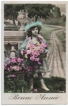 Cute Little Girl with Basket of Flowers Real Photo Postcard, Vintage Large Hat, Antique New Year postcard, Tinted French postcard RPPC by maralecollectibles on Etsy Little Girl Poses, Cute Little Girls, Photo Postcards, Vintage Postcards, Vintage Photographs, Vintage Photos, New Year Postcard, New Year Greetings, Vintage Scrapbook