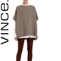 Vince Wool Sweater Poncho 1st and last picture are stock- just to show the styling// sweater is fitted on the inside for a great fit but is overlapped with material to have poncho appearance// short sleeve//gorgeous sweater Vince Sweaters