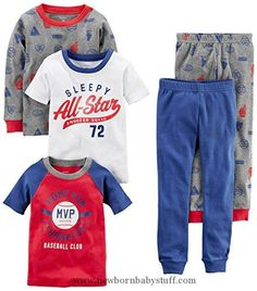 Baby Boy Clothes Carter's Boys' Toddler 5-Piece Cotton Snug-Fit Pajamas, Sports, 2T