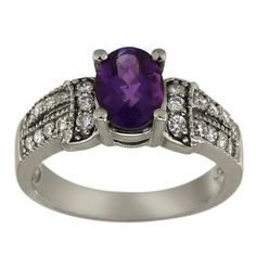 Amethyst Oval Set In Classic Diamond Ring White Gold by Dacarli