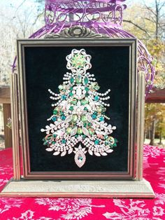 Vintage Rhinestone Jewelry Christmas Tree Framed Art W /Swivel Frame #Vintage