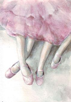 Original watercolor art illustration Ballerina Legs painting