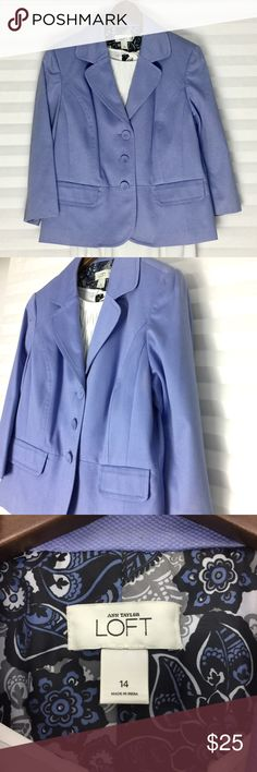 Periwinkle Blazer 🌸 Ann Taylor Loft Beautiful Stylish 🌸 Ann Taylor Loft 🌸 Periwinkle Blazer, Size 14 (runs small, wears like a 12), Great Pre-loved Condition, Some minor wear and stain but not very noticeable. Price reflects condition. LOFT Jackets & Coats Blazers