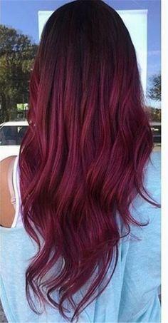 Pretty Hair Color, Hair Color Purple, Hair Dye Colors, Burgundy Color, Burgundy Hair Ombre, Red Balayage Hair Burgundy, Dark Ombre, Magenta Hair, Purple Nail