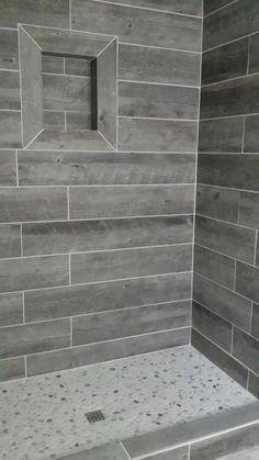 30 Wood Tile Bathroom Design Ideas - Better Homes and Gardens Wood Like Tile, Grey Wood Tile, Wood Plank Tile, Gray Tiles, Wood Tiles, Tile Grout, Wall Wood, Tiling, Grey Bathrooms