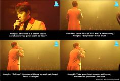At Hongki's solo album showcase XD!!! Wonder how you take a drumset with you though | allkpop Meme Center