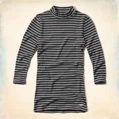 Ribbed Mock Neck T-Shirt