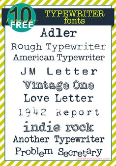Free Typewriter Fonts - vintage and clean, fun to use! | www.moritzfineblogdesigns.com