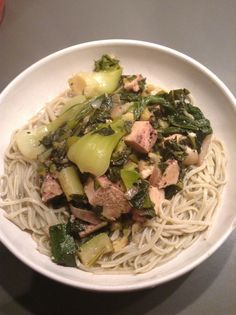 Super green Thai chicken curry with brown rice noodles.