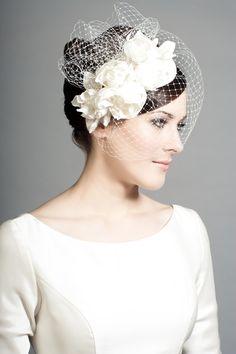 Rachel Trevor Morgan Millinery - Bridal R1503 Silk teardrop with silk taffeta roses and face veil