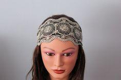 black Stretchy Wide Lace Headband Yoga headband Hair band Turban head scarf Head wrap bandana via Etsy