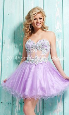 2014 Homecoming Dresses A Line Short/Mini Sweetheart Lilac Tulle Applique Beadings&Sequins