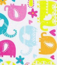 Snuggle Flannel Fabric Elephant Fun
