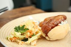 Coleslaw and home made hod dogs