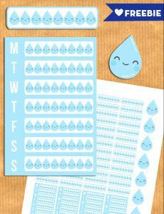 Free water intake planner stickers to track your water intake daily or weekly. PDF and Silhouette print and cut files.