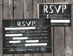 Printable Chalkboard Wedding RSVP Libs (reply card available as postcard too!). A full, matching invitation suite is sold separately. Details