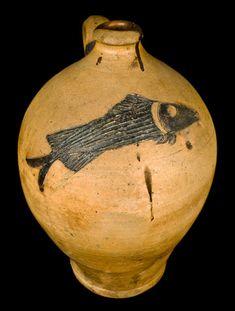Extremely Fine Ohio Stoneware Jug w/ Incised Fish Decoration