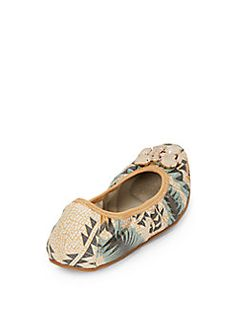 Trinity Jewel-Embellished Geo-Print Faux Leather Flats