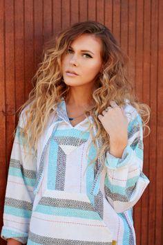 Mexican Threads Baja Drug Rug Hoodie Pullover Sweatshirt   Baja Jacket Poncho Turquoise-Grey   Boho Gypsy
