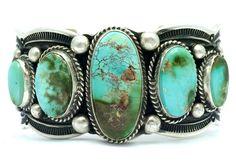 GUY HOSKIE Royston Turquoise Sterling Cuff Bracelet ~Signed~