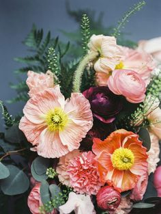 Bright, Fresh, Spring Poppy wedding bouquet by Living Fresh Flower Studio || Photography - Whitney Heard || Blush Pink, Bright tangerine, Sunshine Yellow