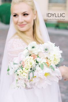 Spring flowers in a romantic pastel bride bouquet. Pastel Flowers, Spring Flowers, The Bride, Wedding Bride, Bride Bouquets, Flower Designs, Wedding Planner, Stylists, Flower Girl Dresses