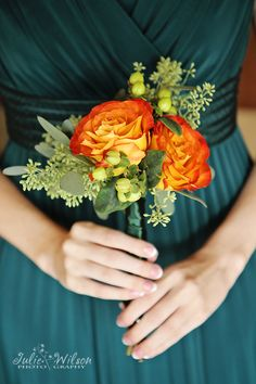 Orange and yella!  Cute, yet simple bridesmaid bouquet!
