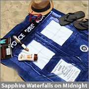 Doctor Who TARDIS Bath/Beach Towel       Sapphire Waterfalls on Midnight      Buy this and earn  300Geek Points    Customer Action Shots:    Your Fellow Smart Masses Also Bought:  Doctor Who TARDIS Lunch Box      Doctor Who Knee High Socks      TARDIS Mug      Doctor Who Sticky Notes      Heat Changing TARDIS Mug      Even a Time Lord knows where his towel is