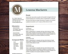 Resume Template - The Maclaren Resume Design Instant Download Customizable Resume Template Word Pages on Etsy, $15.00