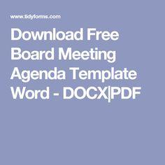 Download Free Board Meeting Agenda Template Word - DOCX|PDF