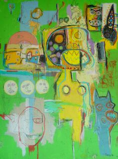 """""""A Child's Imagination""""  48 x 36in artwork on canvas by contemporary artist Tony b ISM. In acrylic, oil stick, pencil, marker, and oil pastel crayons. www.zerolimitcreations.com"""