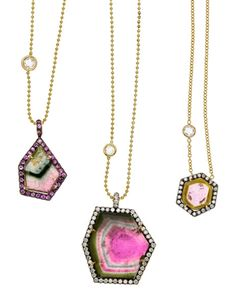 Watermelon Tourmaline and Diamond Necklace.  May do something like this with my watermelon tourmaline :)