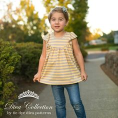 Opal Knit Flutter Tunic Top and Dress Pattern 12 months 9/10 years - Tie Dye Diva Patterns