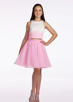 Lexie by Mon Cheri TW11663 Pink/White Girls Two Piece Satin Party Dress