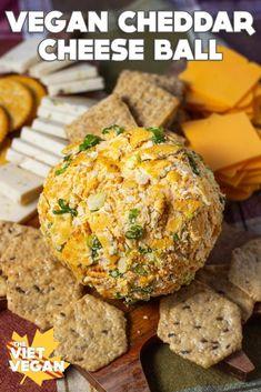 Vegan Cheddar Cheese, Dairy Free Cheese, Vegan Cream Cheese, Dairy Free Recipes, Vegan Recipes Easy, Vegan Party Food, Vegan Food, Cheese Alternatives, Cheese Ball Recipes