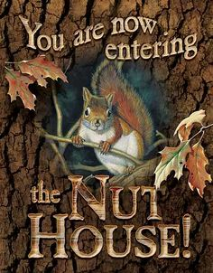~♥~ too adorable not to pin ~♥~  Nut House Tin Sign. should hang this sign above the door to my house....our name translated means nut tree.