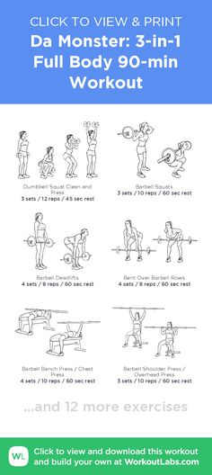 Da Monster: 3-in-1 Full Body 90-min Workout –click to view and print this illustrated exercise plan created with #WorkoutLabsFit