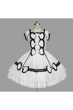 Gothic Black and White Square Collar Short Puff Sleeves Bowtie Layered Cute Lolita Gowns