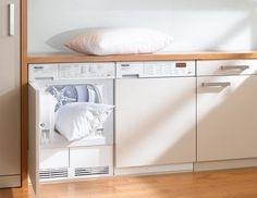 streamlined washer, dryer & base cabinet w/ wood countertop